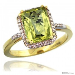 10k Yellow Gold Diamond Lemon Quartz Ring 2.53 ct Emerald Shape 9x7 mm, 1/2 in wide
