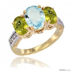 10K Yellow Gold Ladies 3-Stone Oval Natural Aquamarine Ring with Lemon Quartz Sides Diamond Accent