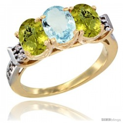 10K Yellow Gold Natural Aquamarine & Lemon Quartz Sides Ring 3-Stone Oval 7x5 mm Diamond Accent