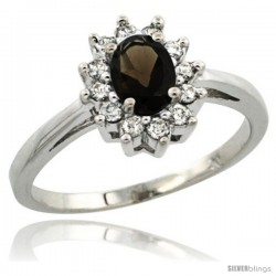 Sterling Silver Natural Smoky Topaz Diamond Halo Ring Oval Shape 1.2 Carat 6X4 mm, 1/2 in wide