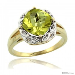 10k Yellow Gold Diamond Halo Lemon Quatrz Ring 2.7 ct Checkerboard Cut Cushion Shape 8 mm, 1/2 in wide