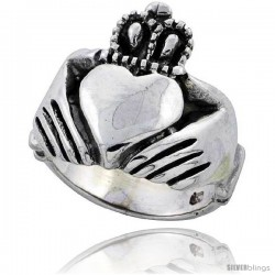 Sterling Silver Large Claddagh Ring 3/4 in wide