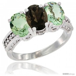 10K White Gold Natural Smoky Topaz & Green Amethyst Sides Ring 3-Stone Oval 7x5 mm Diamond Accent