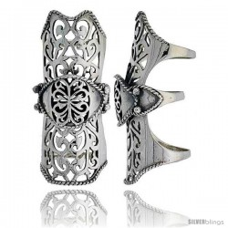 Sterling Silver Filigree Finger Armor Ring, 2 1/4 in wide