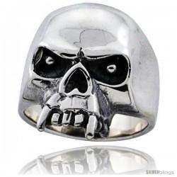 Sterling Silver Skull Ring Fangs 1 1/8 in wide