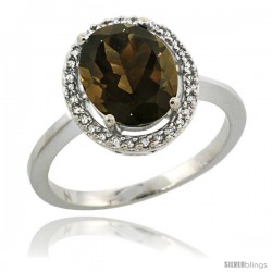 Sterling Silver Diamond Halo Natural Smoky Topaz Ring 2.4 carat Oval shape 10X8 mm, 1/2 in (12.5mm) wide