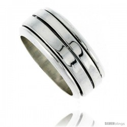 Sterling Silver Men's Spinner Ring Flat Band center Groove Handmade 5/16 wide