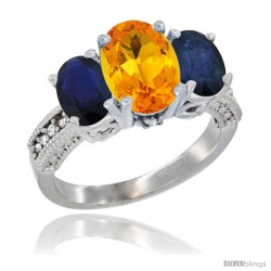 14K White Gold Ladies 3-Stone Oval Natural Citrine Ring with Blue Sapphire Sides Diamond Accent