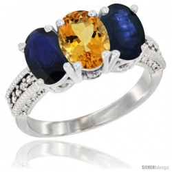 14K White Gold Natural Citrine & Blue Sapphire Sides Ring 3-Stone 7x5 mm Oval Diamond Accent