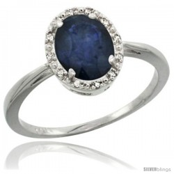 14k White Gold Blue Sapphire Diamond Halo Ring 1.17 Carat 8X6 mm Oval Shape, 1/2 in wide