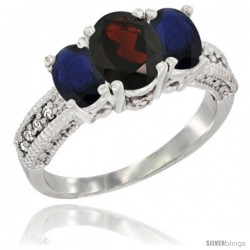 14k White Gold Ladies Oval Natural Garnet 3-Stone Ring with Blue Sapphire Sides Diamond Accent