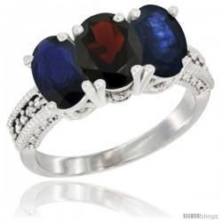 14K White Gold Natural Garnet & Blue Sapphire Sides Ring 3-Stone 7x5 mm Oval Diamond Accent