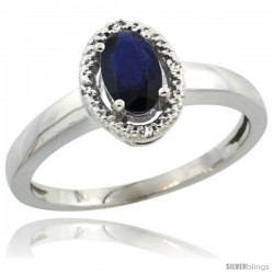 14k White Gold Diamond Halo Lab Created Blue Sapphire Ring 0.64 Carat Oval Shape 6X4 mm, 3/8 in (9mm) wide