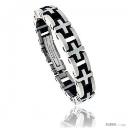 Gent's Stainless Steel & Rubber Cross Link Bracelet, 1/2 in wide, 8 1/2 in long