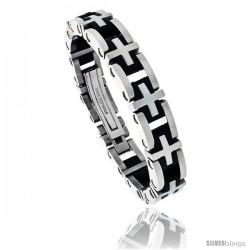 Gent's Stainless Steel & Rubber Cross Link Bracelet, 1/2 in wide, 8 1/2 in long