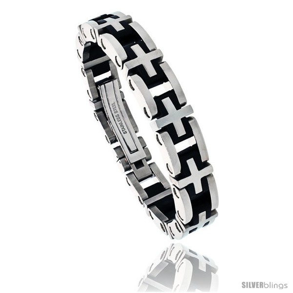 https://www.silverblings.com/474-thickbox_default/gents-stainless-steel-rubber-cross-link-bracelet-1-2-in-wide-8-1-2-in-long.jpg