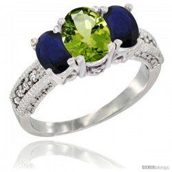 14k White Gold Ladies Oval Natural Peridot 3-Stone Ring with Blue Sapphire Sides Diamond Accent