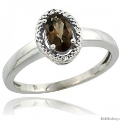 Sterling Silver Diamond Halo Natural Smoky Topaz Ring 0.75 Carat Oval Shape 6X4 mm, 3/8 in (9mm) wide
