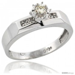 10k White Gold Diamond Engagement Ring, 3/16 in wide -Style Ljw109er