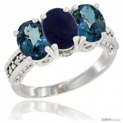 14K White Gold Natural Lapis & London Blue Topaz Sides Ring 3-Stone 7x5 mm Oval Diamond Accent