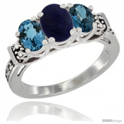 14K White Gold Natural Lapis & London Blue Ring 3-Stone Oval with Diamond Accent