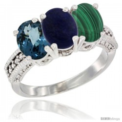 14K White Gold Natural London Blue Topaz, Lapis & Malachite Ring 3-Stone 7x5 mm Oval Diamond Accent