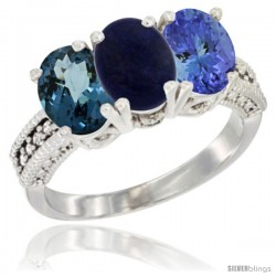 14K White Gold Natural London Blue Topaz, Lapis & Tanzanite Ring 3-Stone 7x5 mm Oval Diamond Accent