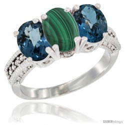 14K White Gold Natural Malachite & London Blue Topaz Sides Ring 3-Stone 7x5 mm Oval Diamond Accent