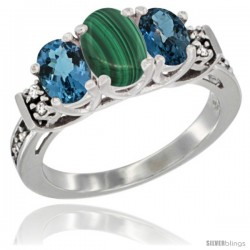14K White Gold Natural Malachite & London Blue Ring 3-Stone Oval with Diamond Accent