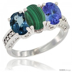 14K White Gold Natural London Blue Topaz, Malachite & Tanzanite Ring 3-Stone 7x5 mm Oval Diamond Accent