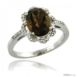 Sterling Silver Diamond Halo Natural Smoky Topaz Ring 1.65 Carat Oval Shape 9X7 mm, 7/16 in (11mm) wide