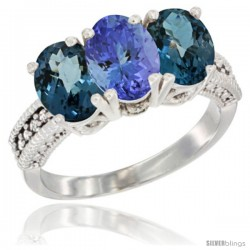 14K White Gold Natural Tanzanite & London Blue Topaz Sides Ring 3-Stone 7x5 mm Oval Diamond Accent