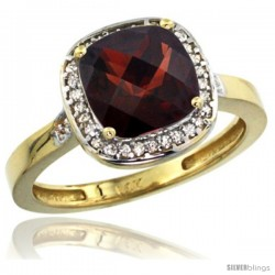 14k Yellow Gold Diamond Garnet Ring 2.08 ct Checkerboard Cushion 8mm Stone 1/2.08 in wide