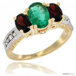 14k Yellow Gold Ladies Oval Natural Emerald 3-Stone Ring with Garnet Sides Diamond Accent