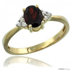 14k Yellow Gold Ladies Natural Garnet Ring oval 7x5 Stone Diamond Accent