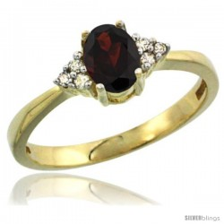 14k Yellow Gold Ladies Natural Garnet Ring oval 6x4 Stone Diamond Accent