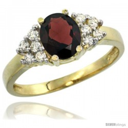 14k Yellow Gold Ladies Natural Garnet Ring oval 8x6 Stone Diamond Accent