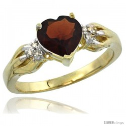 14k Yellow Gold Ladies Natural Garnet ring Heart shape 7x7 Stone Diamond Accent