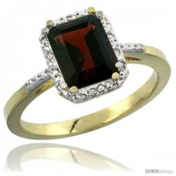 14k Yellow Gold Ladies Natural Garnet Ring Emerald-shape 8x6 Stone Diamond Accent