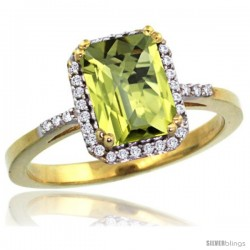 10k Yellow Gold Diamond Lemon Quartz Ring 1.6 ct Emerald Shape 8x6 mm, 1/2 in wide -Style Cy927129