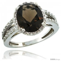 Sterling Silver Diamond Halo Natural Smoky Topaz Ring 2.85 Carat Oval Shape 11X9 mm, 7/16 in (11mm) wide