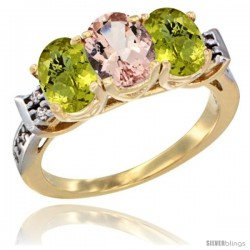 10K Yellow Gold Natural Morganite & Lemon Quartz Sides Ring 3-Stone Oval 7x5 mm Diamond Accent