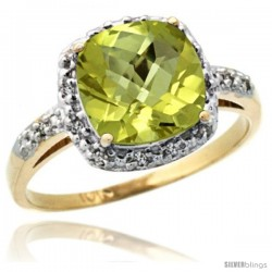10k Yellow Gold Diamond Lemon Quartz Ring 2.08 ct Cushion cut 8 mm Stone 1/2 in wide