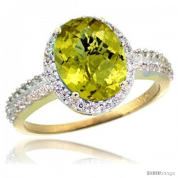 10k Yellow Gold Diamond Lemon Quartz Ring Oval Stone 10x8 mm 2.4 ct 1/2 in wide