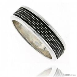 Sterling Silver Men's Spinner Ring Beaded Design Handmade 5/16 wide
