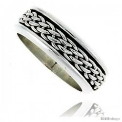 Sterling Silver Men's Spinner Ring Woven Design Handmade 5/16 wide