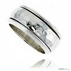 Sterling Silver Men's Spinner Ring Domed Band Hammered Finish Handmade 3/8 in wide