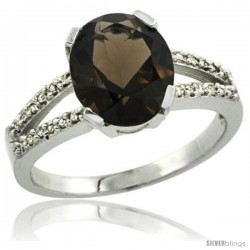 Sterling Silver and Diamond Halo Natural Smoky Topaz Ring 2.4 carat Oval shape 10X8 mm, 3/8 in (10mm) wide
