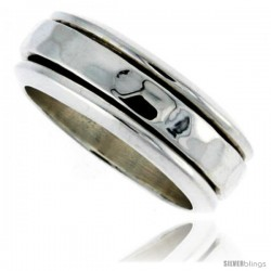 Sterling Silver Men's Spinner Ring Flat Band Hammered Finish Handmade 5/16 wide