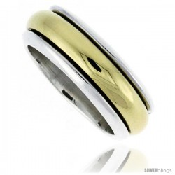 Sterling Silver Men's Spinner Ring with Brass Rotating Band Handmade 5/16 wide